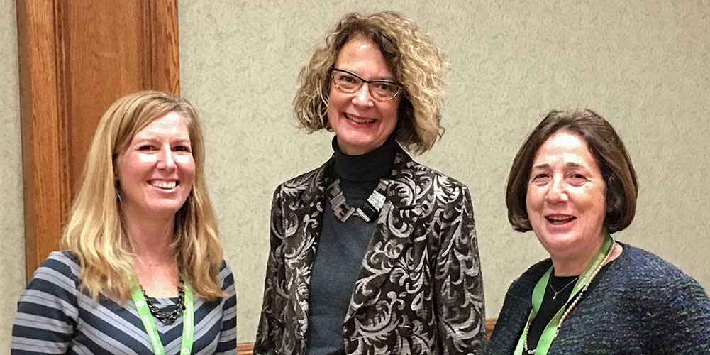 At the Windsor Educational Forum, from left to right: Susan Blacker, RSW; College Registrar Lise Betteridge, RSW; College President Beatrice Traub-Werner, RSW.