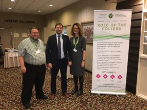 OCSWSSW Vice-President Thomas Horn, MSW, RSW, David Burnes, MSW, PhD, RSW and OCSWSSW Registrar Lise Betteridge, MSW, RSW at the Kitchener Educational Forum
