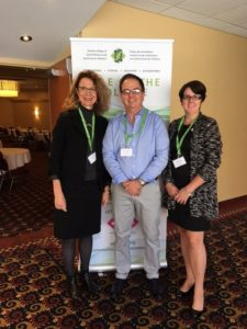 OCSWSSW Registrar Lise Betteridge, MSW, RSW, Steven Solomon, MSW, PhD, RSW, and OCSWSSW President Shelley Hale, RSSW at the Sudbury Educational Forum